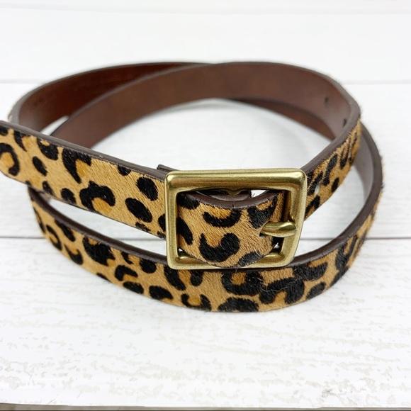 01f0712946 Leopard Print Leather Calf Hair Belt Small